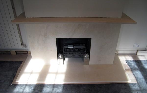 Limestone Firepace